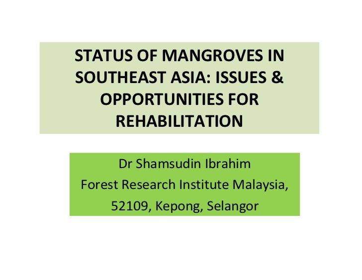 STATUS OF MANGROVES INSOUTHEAST ASIA: ISSUES &   OPPORTUNITIES FOR    REHABILITATION      Dr Shamsudin IbrahimForest Resea...