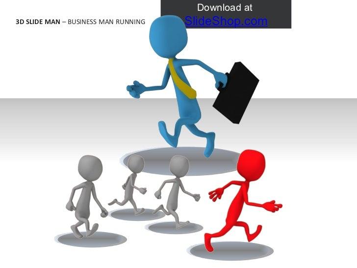 3 d slide man   business man running