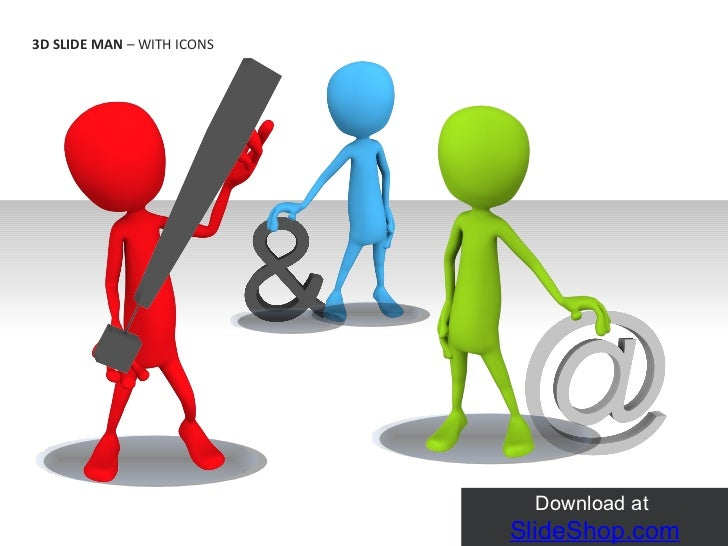 3D slide man with icons
