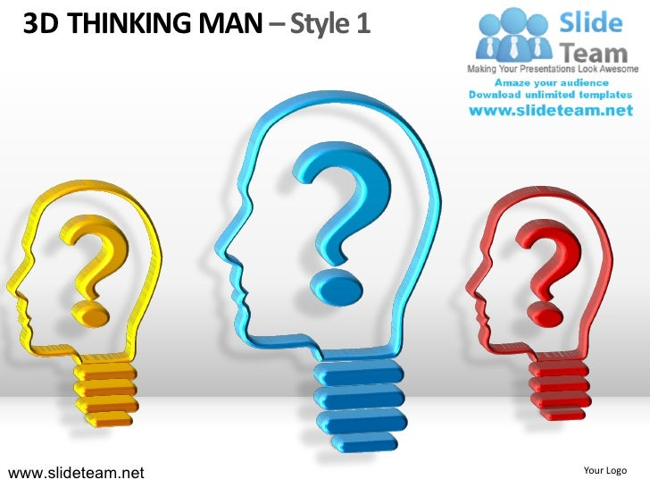 3d thinking man style design 1 powerpoint ppt templates.