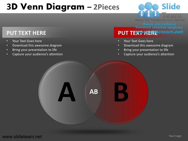 3d venn diagram 2 and 3 pieces powerpoint presentation slides.