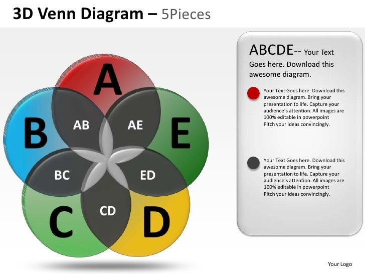 3D Venn Diagram – 5Pieces                            ABCDE-- Your Text                            Goes here. Download this...