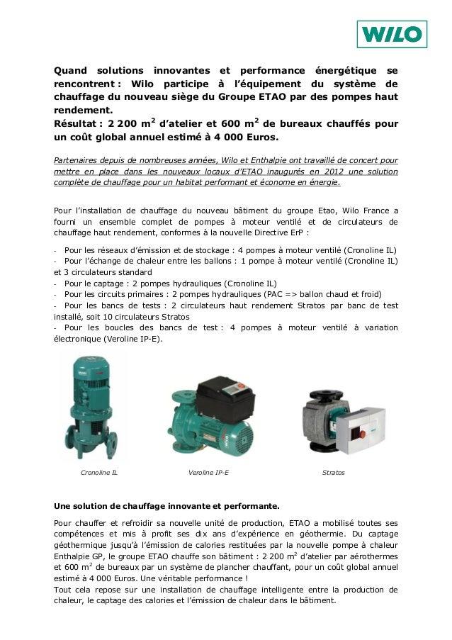 Quand solutions innovantes et performance énergétique se rencontrent : Wilo participe à l'équipement du système de chauffa...