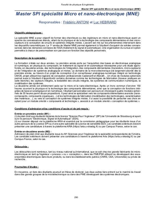290 Faculté de physique & ingénierie Master SPI spécialité Micro et nano-électronique (MNE) Master SPI spécialité Micro et...