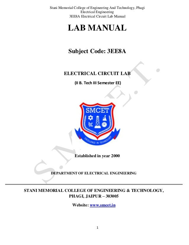 Stani Memorial College of Engineering And Technology, Phagi Electrical Engineering 3EE8A Electrical Circuit Lab Manual 1 L...