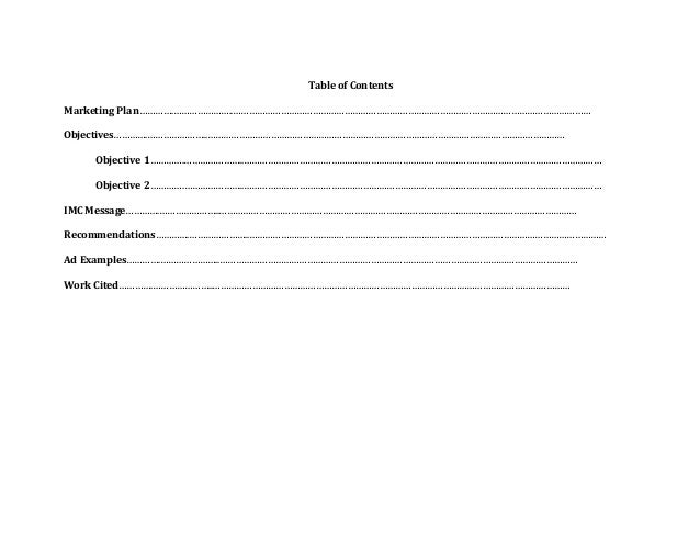 Marketing plan 1 - Marketing plan table of contents ...