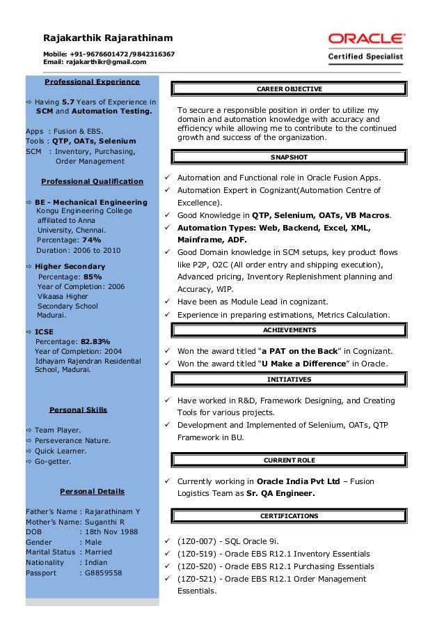 Automation engineer sample resume