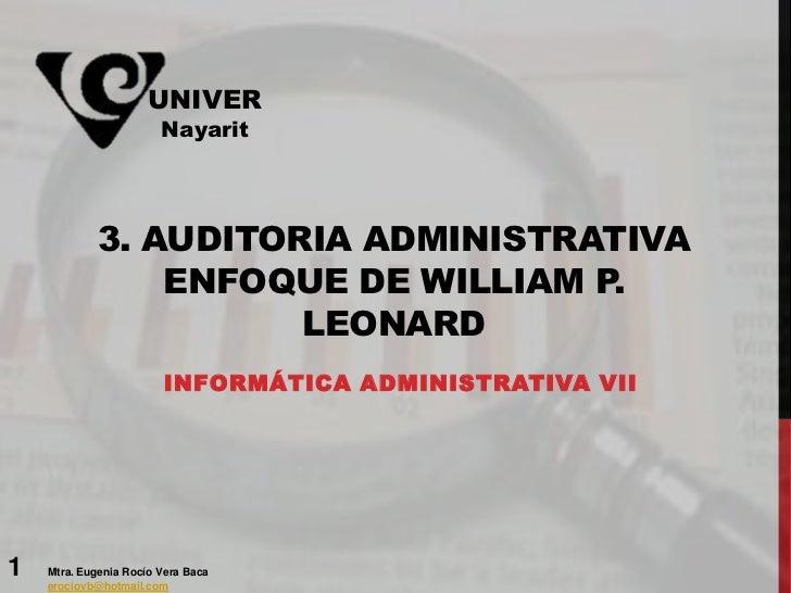AUDITORIA ADMINISTRATIVA, ENFOQUE WILLIAM P. LEONARD