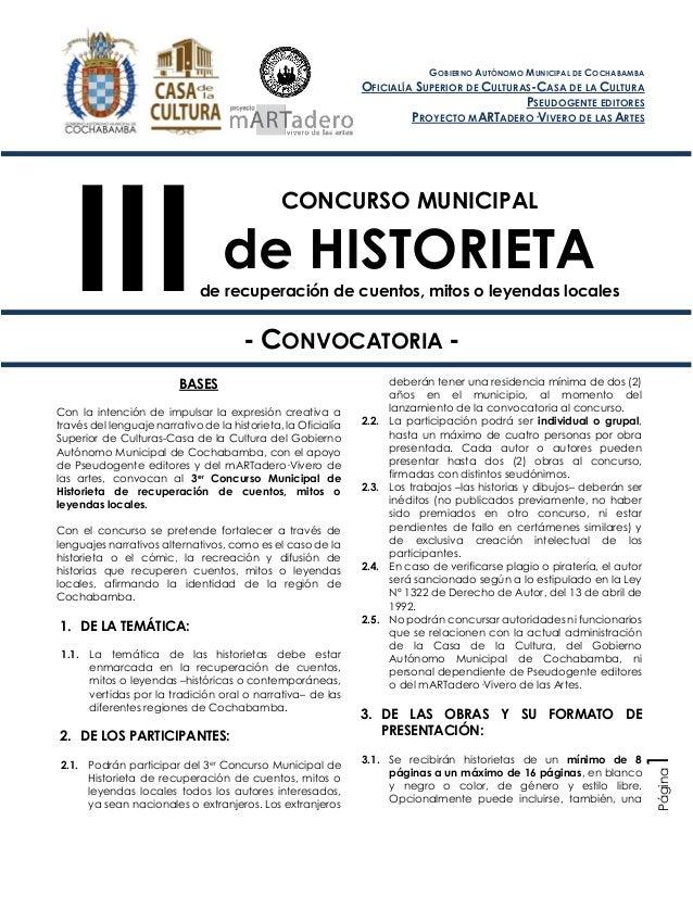 CONCURSO MUNICIPAL de HISTORIETA de recuperación de cuentos, mitos o leyendas locales - CONVOCATORIA - BASES Con la intenc...