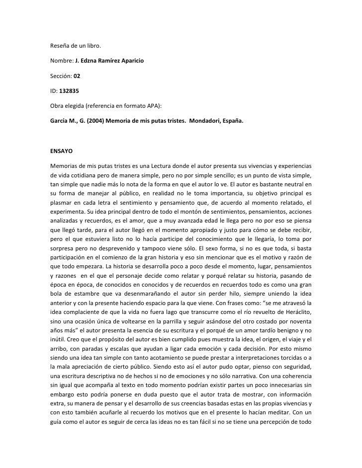 Reseña de un libro. <br />Nombre: J. Edzna Ramírez Aparicio<br />Sección: 02<br />ID: 132835<br />Obra elegida (referencia...
