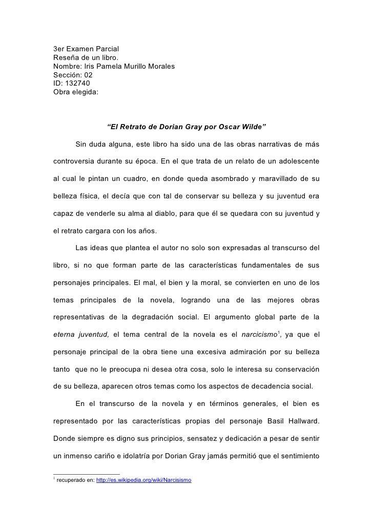 3er Examen Parcial Reseña de un libro. Nombre: Iris Pamela Murillo Morales Sección: 02 ID: 132740 Obra elegida:           ...