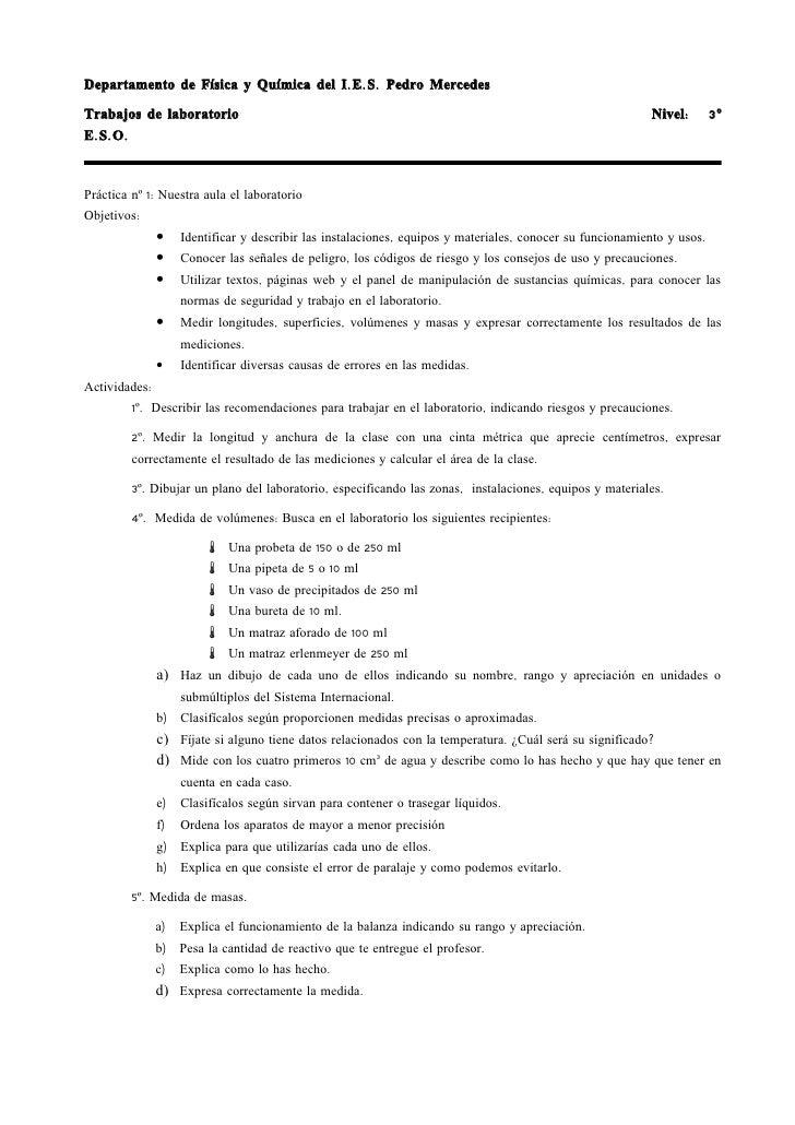 Departamento de Física y Química del I. E. S. Pedro Mercedes  Trabajos de laboratorio                                     ...
