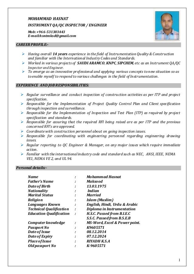 resume inst qc hasnat