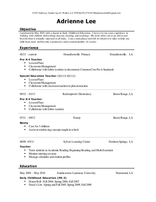 Childhood early resume teacher