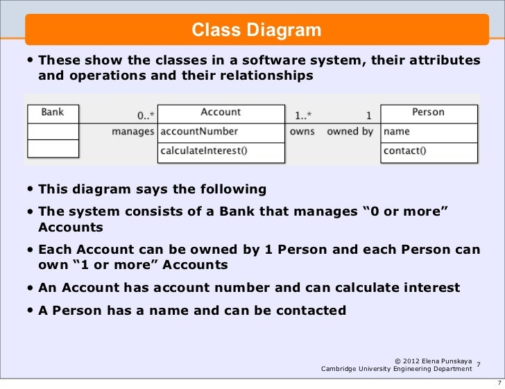 lecture  software engineering and design introduction to uml    engineering department     class diagram•