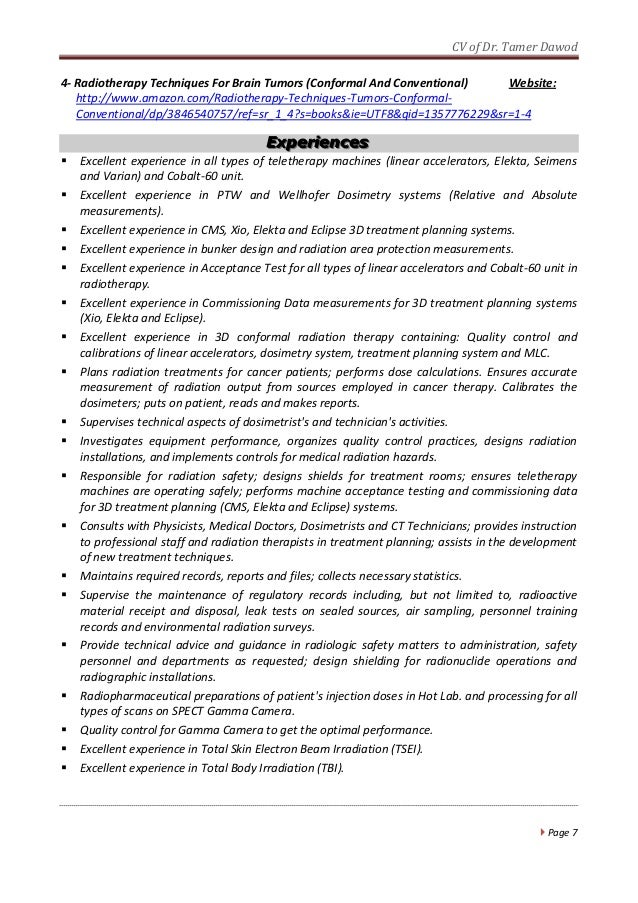 Best Radiation Therapy Resume Occupational