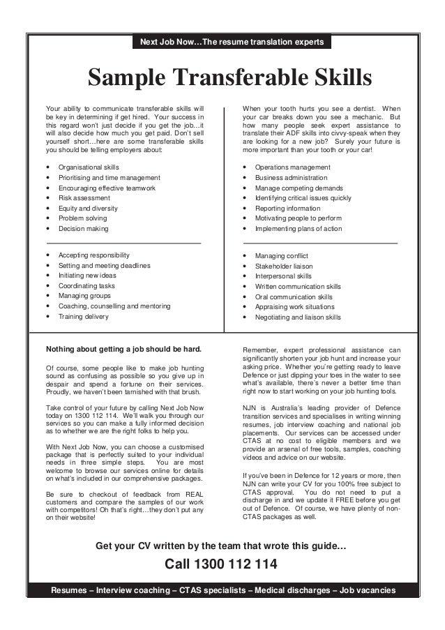 Transferable Skills Examples Resume] Transferable Skills Resume