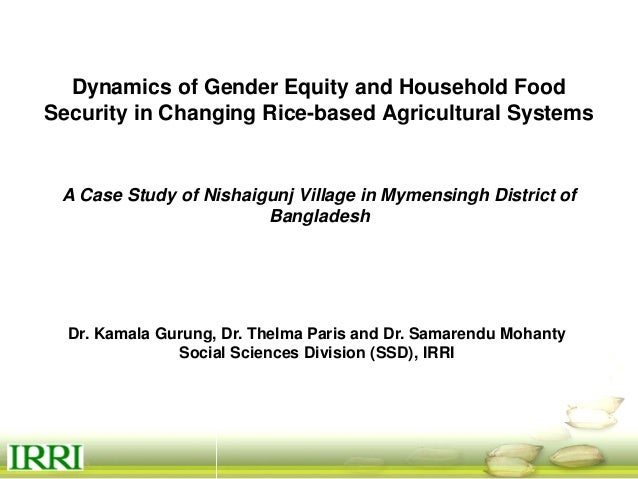 Dynamics of gender equity and household food security in rice-based farming systems