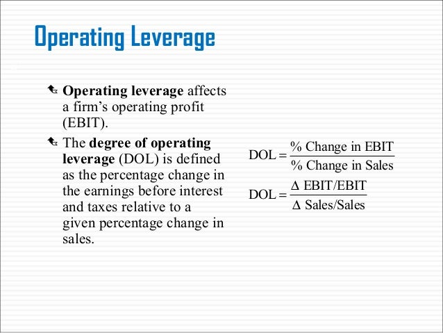 operating and financial leverage This article throws light upon the top three types of leverage the types are: 1 financial leverage 2 operating leverage 3 composite leverage type # 1 financial leverage: a firm needs funds so run and manage its activities the funds are first needed to set up an enterprise and then to.
