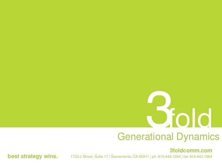 Generational Dynamics<br />3foldcomm.com<br />best strategy wins.<br />1722 J Street, Suite 17   Sacramento, C...