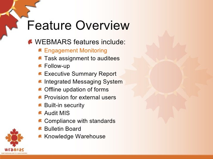 Feature Overview <ul><li>WEBMARS features include: </li></ul><ul><ul><li>Engagement Monitoring  </li></ul></ul><ul><ul><li...