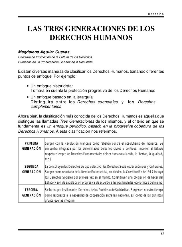 Doctrina  LAS TRES GENERACIONES DE LOS DERECHOS HUMANOS Magdalena Aguilar Cuevas Directora de Promoción de la Cultura de l...