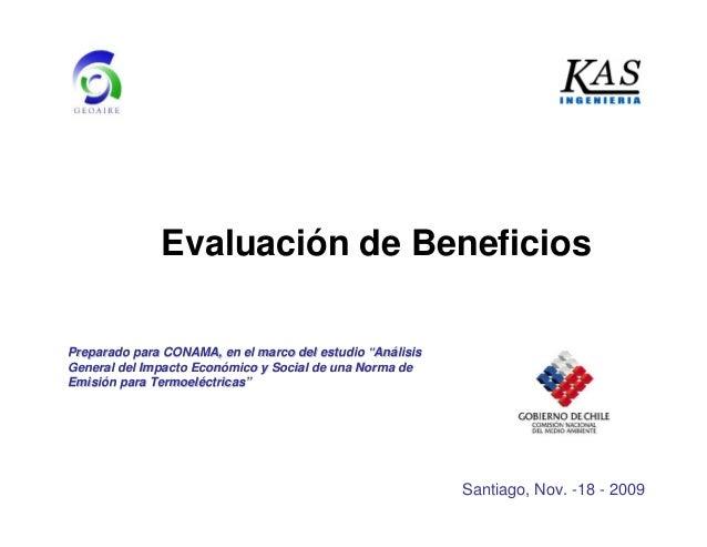 """Evaluación de Beneficios Preparado para CONAMA, en el marco del estudioPreparado para CONAMA, en el marco del estudio """"""""An..."""