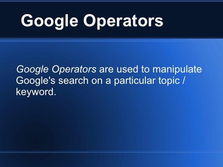 3 Google Operators
