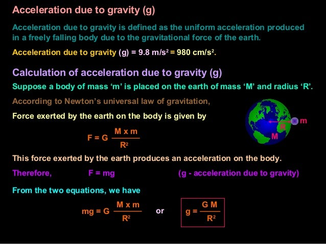 "acceleration due to gravity by picket Title: ""lab 2: acceleration of gravity"" purpose wasn't purpose: measure the acceleration due to gravity of a freely falling body near the earth's surface (g) using a."
