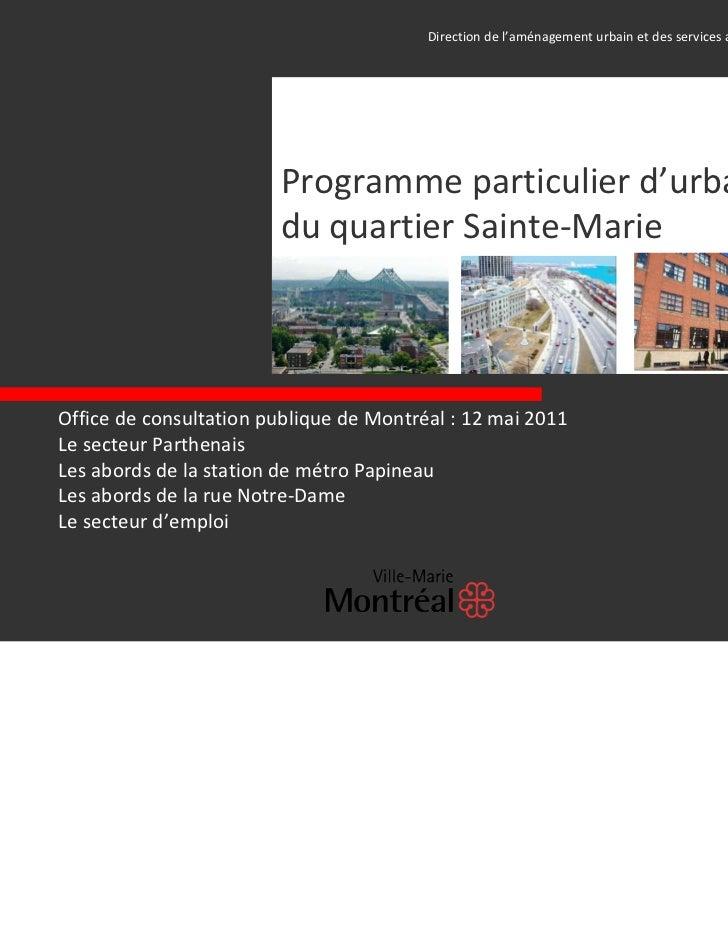 Directiondel'aménagementurbainetdesservicesauxentreprises│                        Programmeparticulierd'urbani...