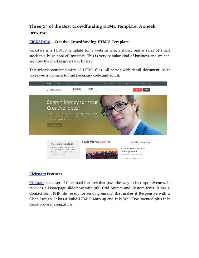 Three(3)oftheBestCrowdfundingHTMLTemplate:Asneek preview KICKSTARS–CreativeCrowdfundingHTML5Template Kicksta...