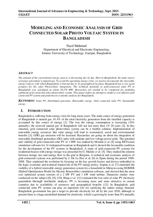 MODELING AND ECONOMIC ANALYSIS OF GRID CONNECTED SOLAR PHOTO VOLTAIC SYSTEM IN BANGLADESH