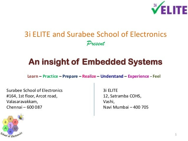 3i ELITE and Surabee School of ElectronicsPresentAn insight of Embedded SystemsSurabee School of Electronics#164, 1st floo...