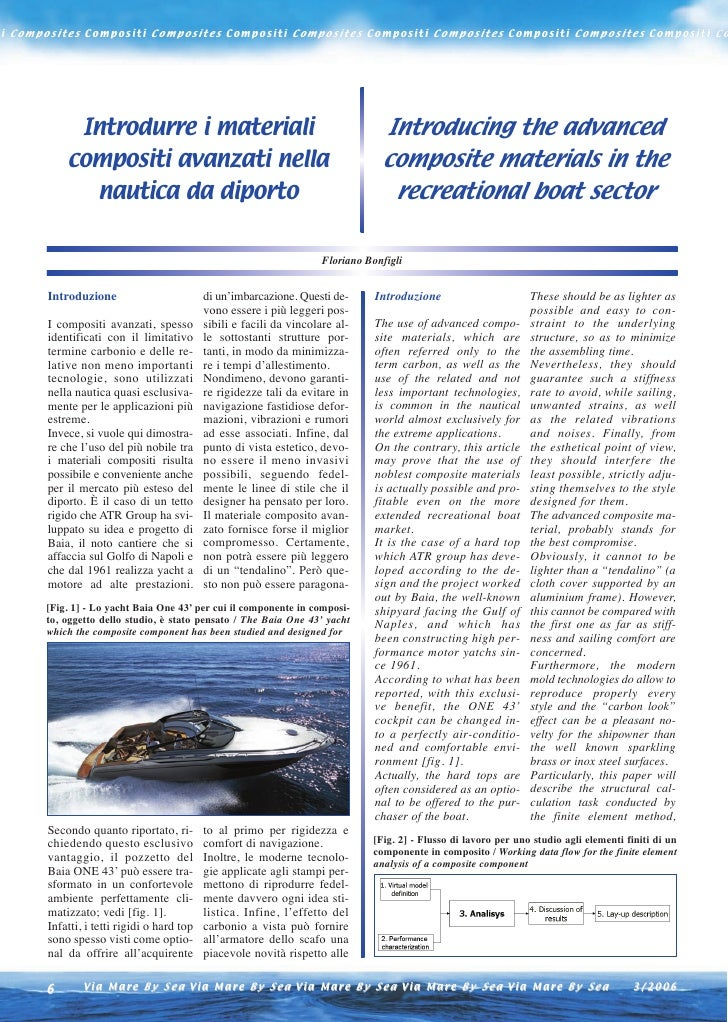 Introducing the advanced composite materials in the recreational boat sector