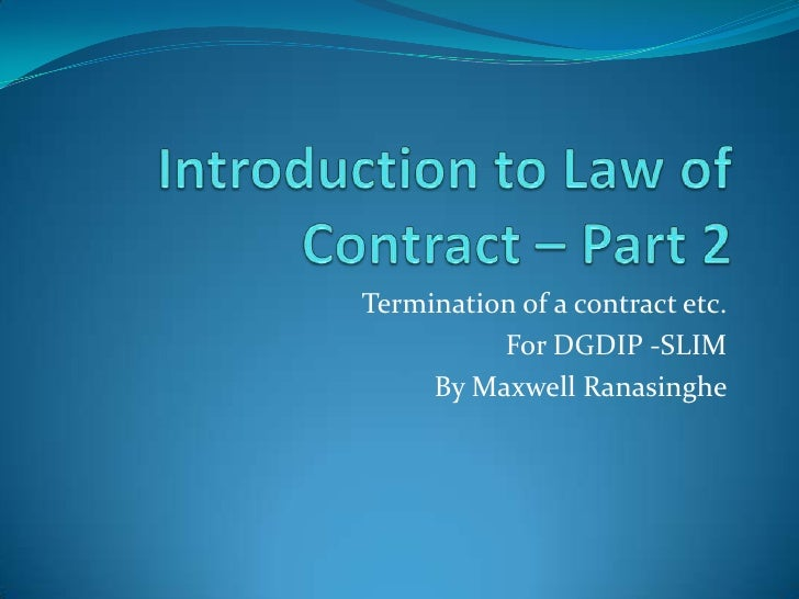 introduction to contract law   termination of offer etc