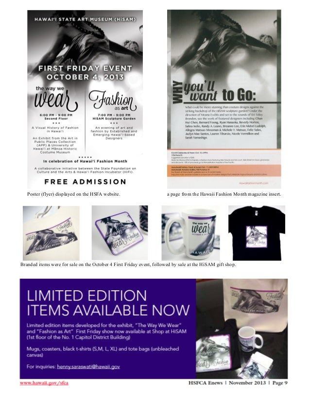 Poster (flyer) displayed on the HSFA website.  a page from the Hawaii Fashion Month magazine insert.  Branded items were f...