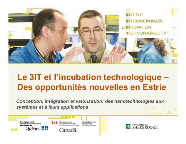 Le 3IT et l'incubation technologique –Des opportunités nouvelles en EstrieConception, intégration et valorisation: des nan...