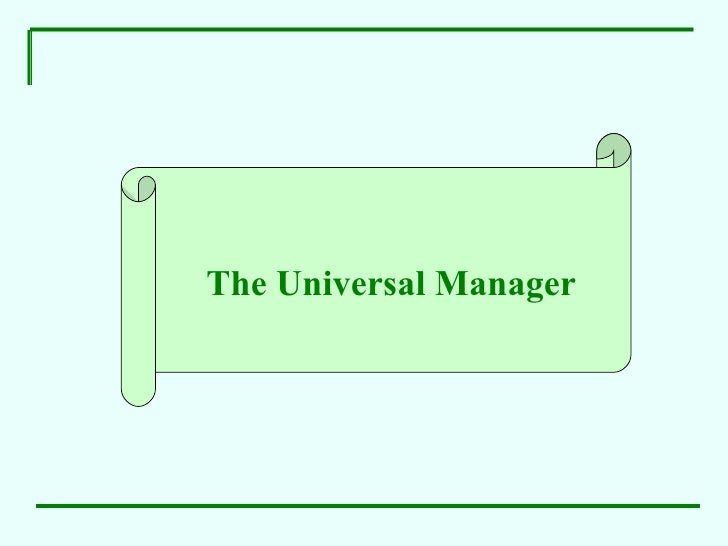 """Human Values At Work   """"Universal Manager"""""""
