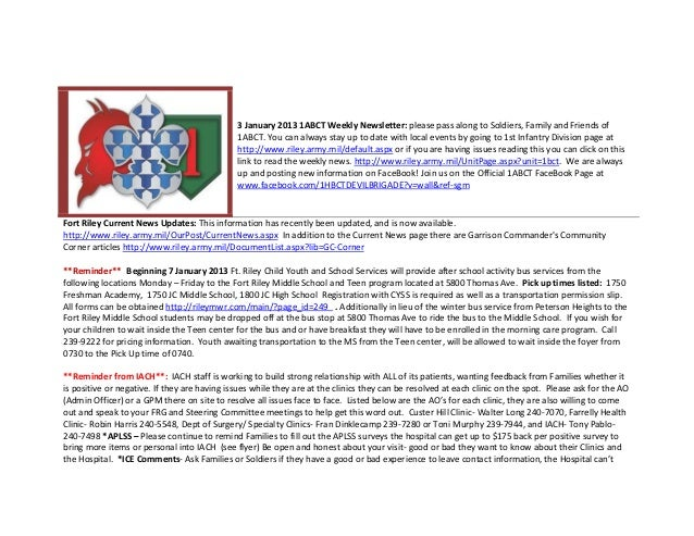 3 January 2013 1ABCT Weekly Newsletter