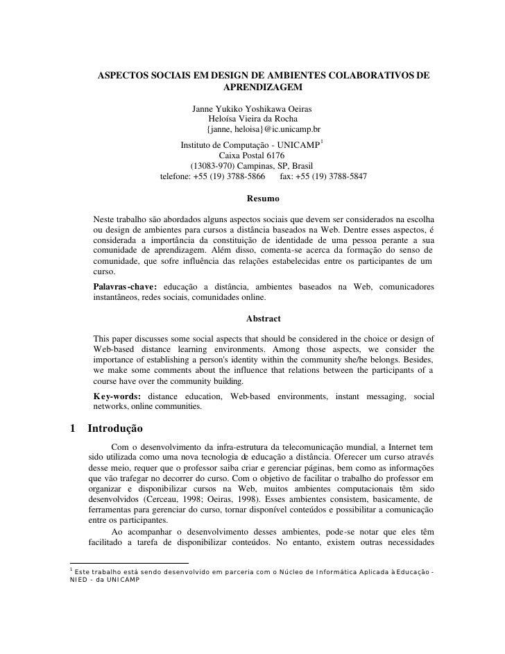 ASPECTOS SOCIAIS EM DESIGN DE AMBIENTES COLABORATIVOS DE                              APRENDIZAGEM                        ...