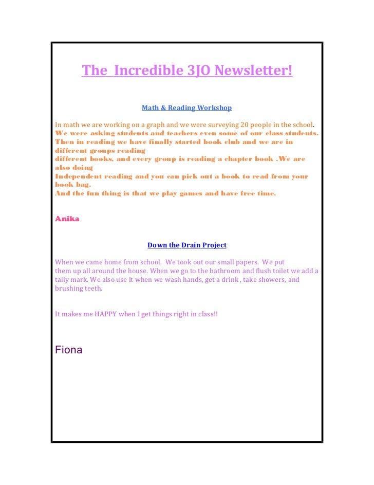 Student Created Newsletter: Episode 1
