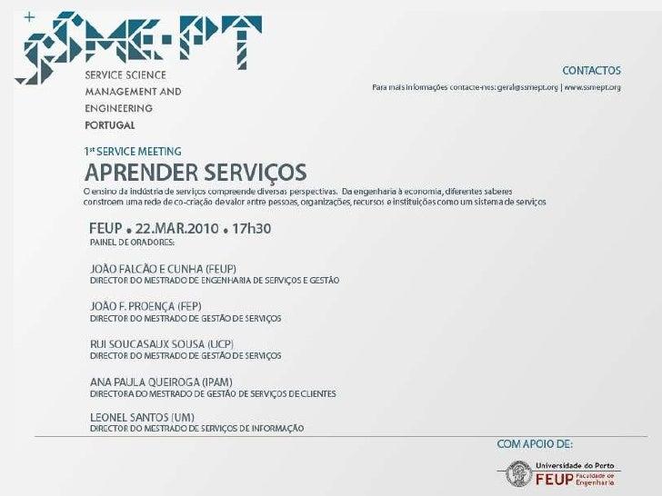 """SSME-PT Service Meeting """"Aprender Serviços"""" - João Proença - FEP"""