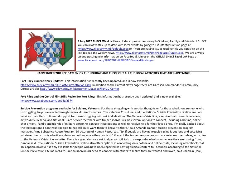 3 July 2012 1HBCT Weekly News Update: please pass along to Soldiers, Family and Friends of 1HBCT.                         ...