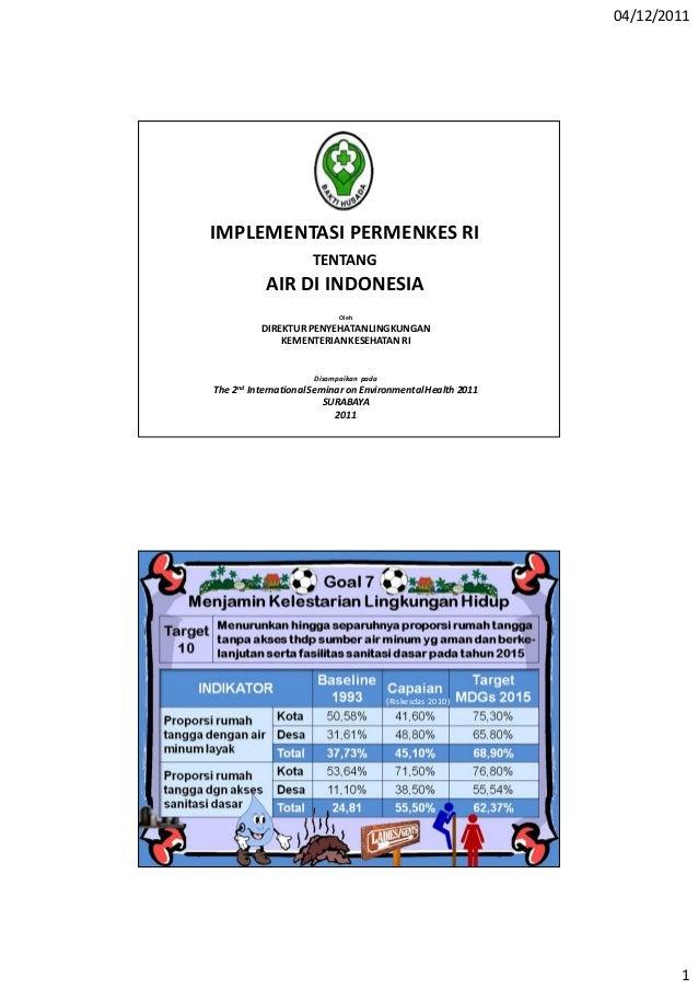 04/12/2011 1 IMPLEMENTASI PERMENKES RI TENTANG AIR DI INDONESIA Disampaikan pada The 2nd InternationalSeminar on Environme...