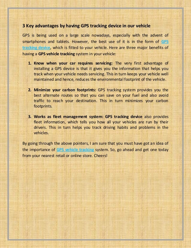 3 key advantages by having gps tracking device in our vehicle   document submission - pdf - 02-sep-13