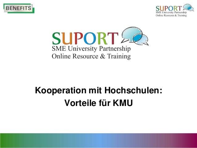 Kooperation mit Hochschulen:      Vorteile für KMU