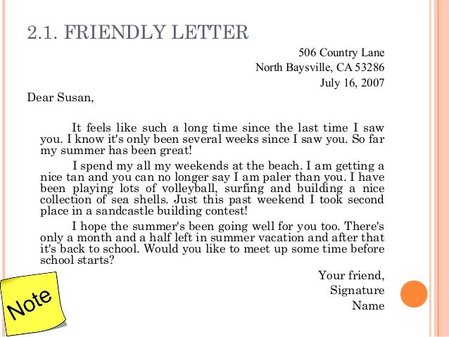 Stunning Friendly Letter Format Example Pictures Guide to the – Sample Friendly Letter Format