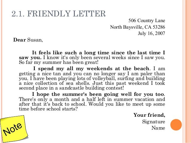 Write a friendly letter to your friend