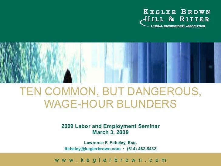 Ten Common Wage & Hour Blunders