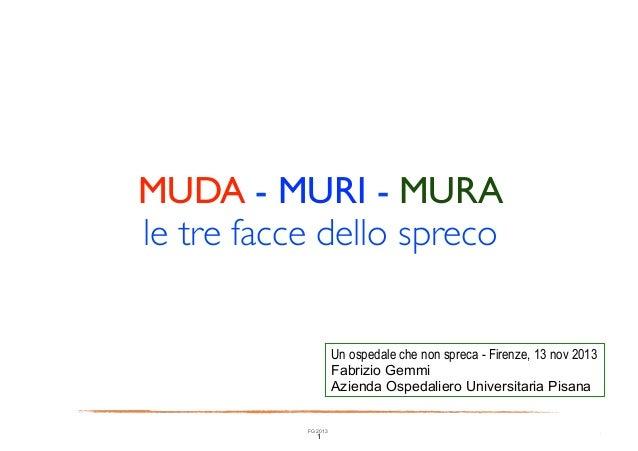 MUDA - MURI - MURA  le tre facce dello spreco Un ospedale che non spreca - Firenze, 13 nov 2013 Fabrizio Gemmi Azienda Os...